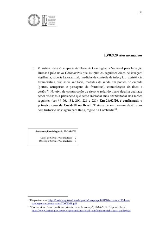30 13/02/20 Atos normativos 3. Ministério da Saúde apresenta Plano de Contingência Nacional para Infecção Humana pelo novo...