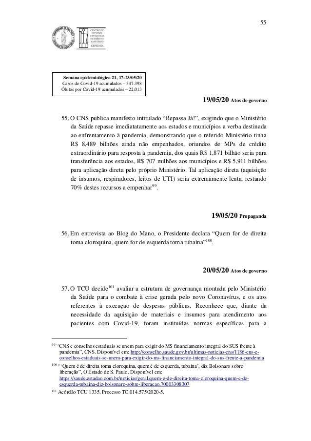 """55 19/05/20 Atos de governo 55. O CNS publica manifesto intitulado """"Repassa Já!"""", exigindo que o Ministério da Saúde repas..."""