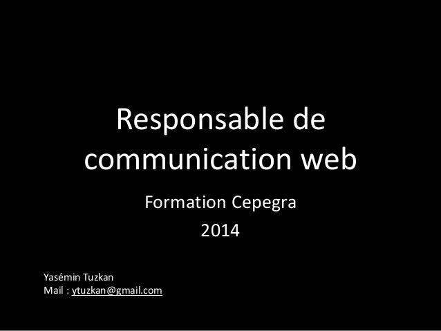 Responsable de communication web Formation Cepegra 2014 Yasémin Tuzkan Mail : ytuzkan@gmail.com
