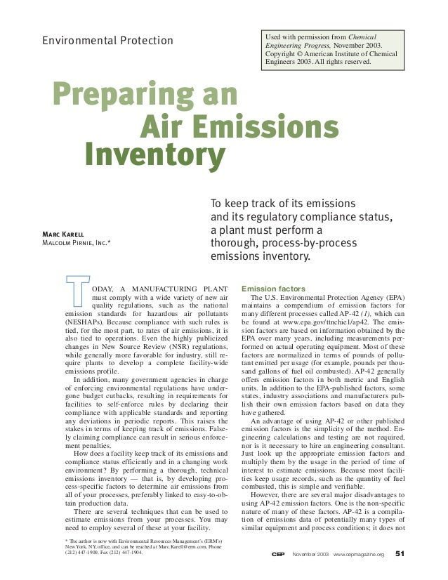 CEP November 2003 www.cepmagazine.org 51 Environmental Protection ODAY, A MANUFACTURING PLANT must comply with a wide vari...