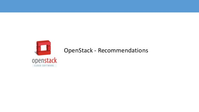 OpenStack - Recommendations