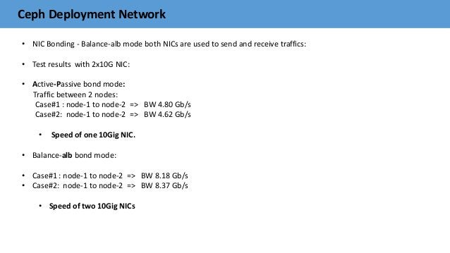 Ceph Deployment Network • NIC Bonding - Balance-alb mode both NICs are used to send and receive traffics: • Test results w...