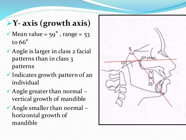 Y- axis (growth axis)  Mean value = 59° , range = 53 to 66°  Angle is larger in class 2 facial patterns than in class 3...