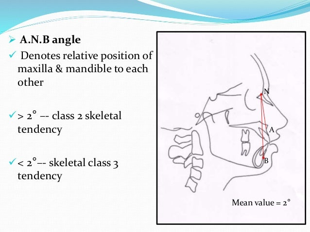  A.N.B angle  Denotes relative position of maxilla & mandible to each other > 2° –- class 2 skeletal tendency < 2°–- s...