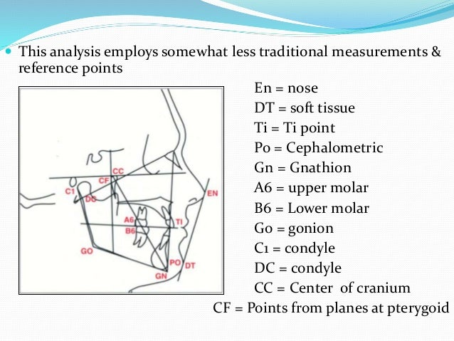  This analysis employs somewhat less traditional measurements & reference points En = nose DT = soft tissue Ti = Ti point...