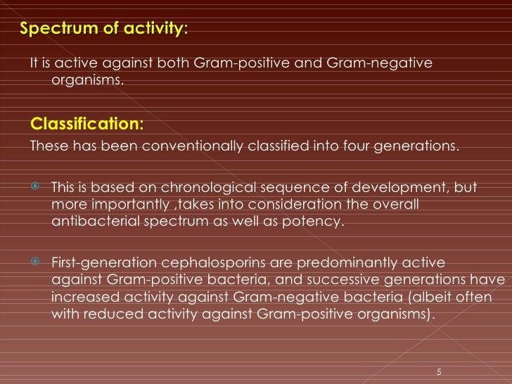 <ul><li>It is active against both Gram-positive and Gram-negative organisms. </li></ul><ul><li>Classification: </li></ul><...