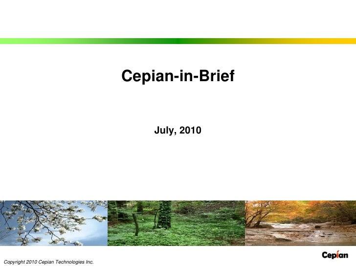 Cepian-in-Brief<br />July, 2010<br />