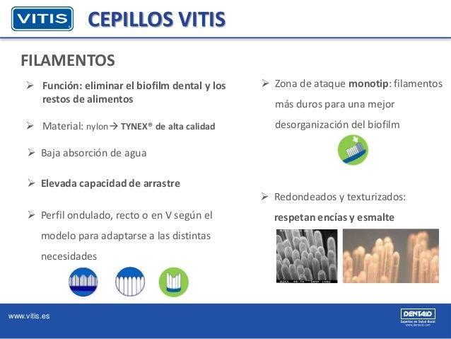 www.vitis.es CEPILLOS VITIS FILAMENTOS  Función: eliminar el biofilm dental y los restos de alimentos  Material: nylon ...