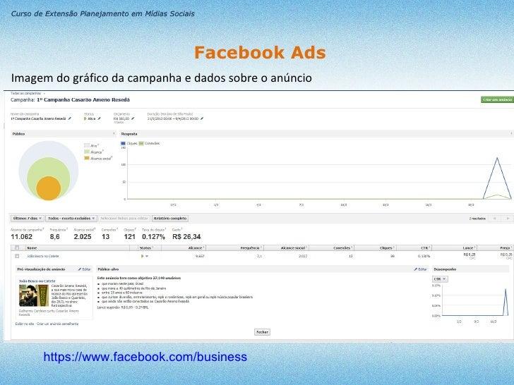 Curso de Extensão Planejamento em Mídias Sociais                                               Facebook AdsImagem do gráfi...