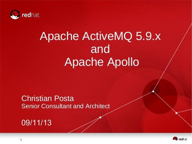 11 Apache ActiveMQ 5.9.x and Apache Apollo Christian Posta Senior Consultant and Architect 09/11/13
