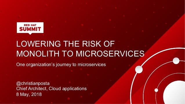 LOWERING THE RISK OF MONOLITH TO MICROSERVICES One organization's journey to microservices @christianposta Chief Architect...
