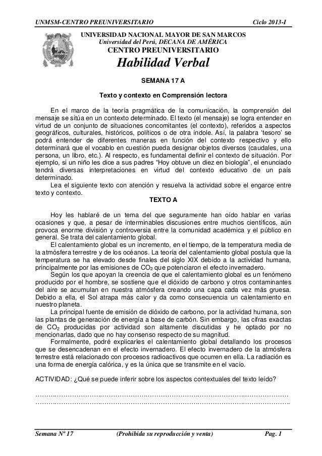 UNMSM-CENTRO PREUNIVERSITARIO Ciclo 2013-I Semana Nº 17 (Prohibida su reproducción y venta) Pag. 1 UNIVERSIDAD NACIONAL MA...
