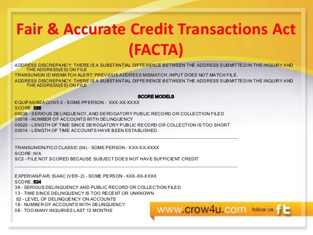 Credit education presentation fair accurate credit transactions act publicscrutiny Gallery