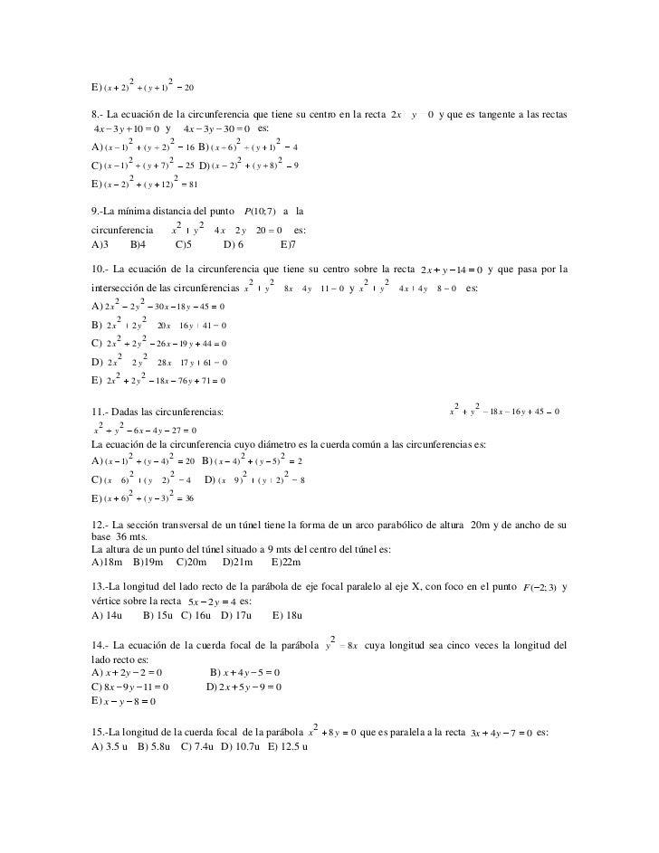 2                   2E) ( x 2)                 (y    1)            208.- La ecuación de la circunferencia que tiene su cen...