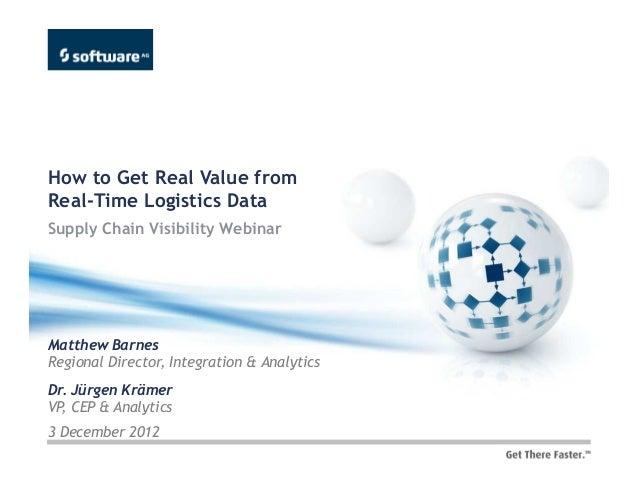 How to Get Real Value fromReal-Time Logistics DataSupply Chain Visibility WebinarMatthew BarnesRegional Director, Integrat...