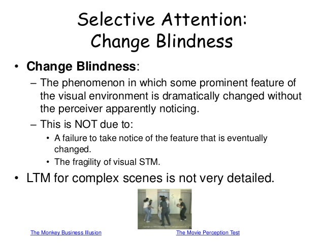 "phenomenon of change blindness This is a student-made, educational video on the psychological phenomenon of ""change blindness,"" created for dr michael shermer's course, ""skepticism 101: how to think like a scientist (without being a geek)"" at."