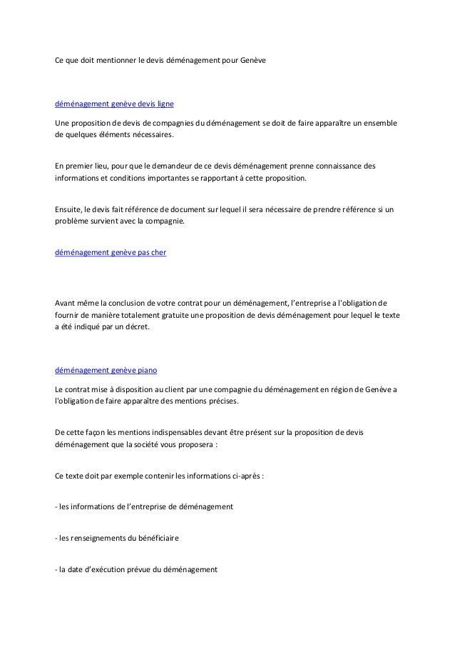 Ce que doit mentionner le devis déménagement pour Genèvedéménagement genève devis ligneUne proposition de devis de compagn...