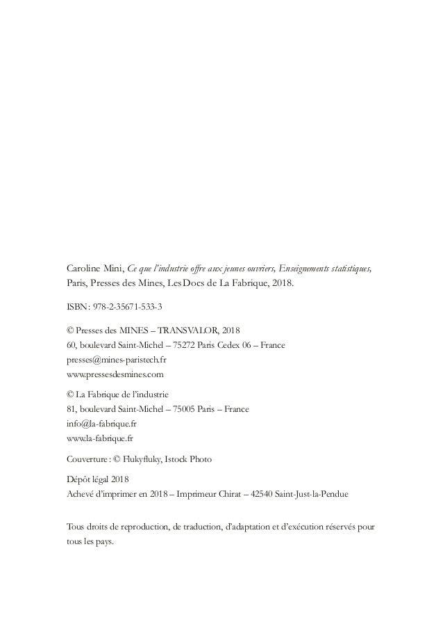 Caroline Mini, Ce que l'industrie offre aux jeunes ouvriers, Enseignements statistiques, Paris, Presses des Mines, LesDoc...