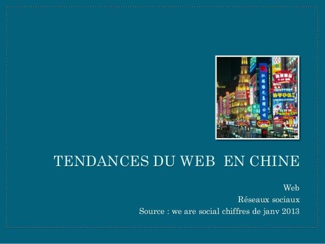TENDANCES DU WEB EN CHINE Web Réseaux sociaux Source : we are social chiffres de janv 2013