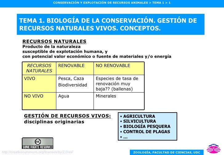 TEMA 1. BIOLOGÍA DE LA CONSERVACIÓN. GESTIÓN DE RECURSOS NATURALES VIVOS. CONCEPTOS. RECURSOS NATURALES Producto de la nat...
