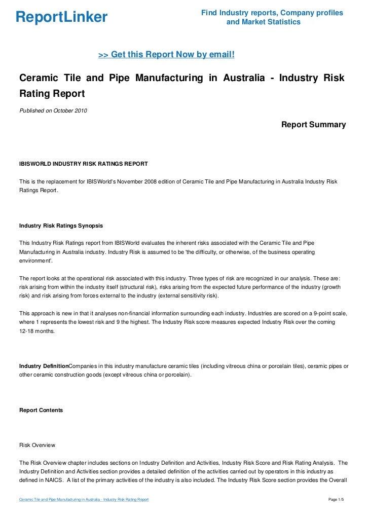 Ceramic Tile And Pipe Manufacturing In Australia Industry Risk Rati