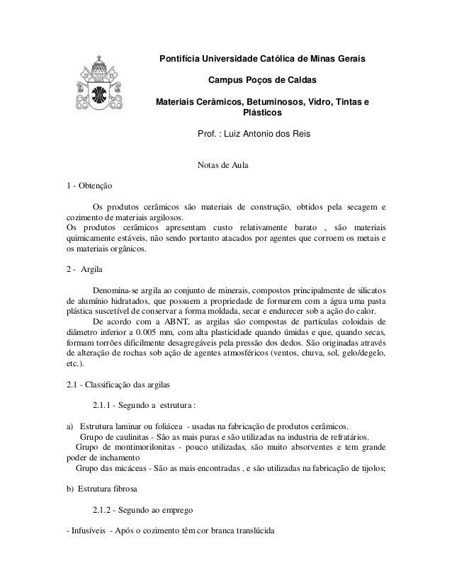 Pontifícia Universidade Católica de Minas Gerais Campus Poços de Caldas Materiais Cerâmicos, Betuminosos, Vidro, Tintas e ...