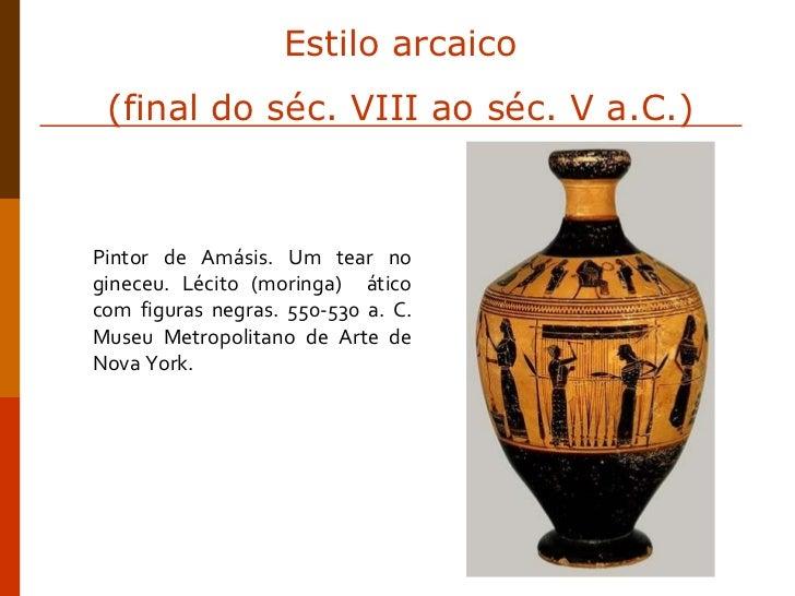 Pintor de Amásis. Um tear no gineceu. Lécito (moringa)  ático com figuras negras. 550-530 a. C. Museu Metropolitano de Art...