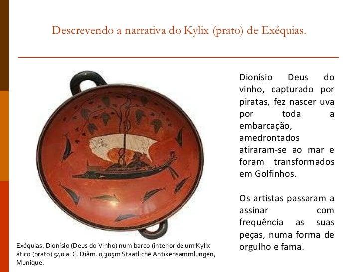 Descrevendo a narrativa do Kylix (prato) de Exéquias. Dionísio Deus do vinho, capturado por piratas, fez nascer uva por to...