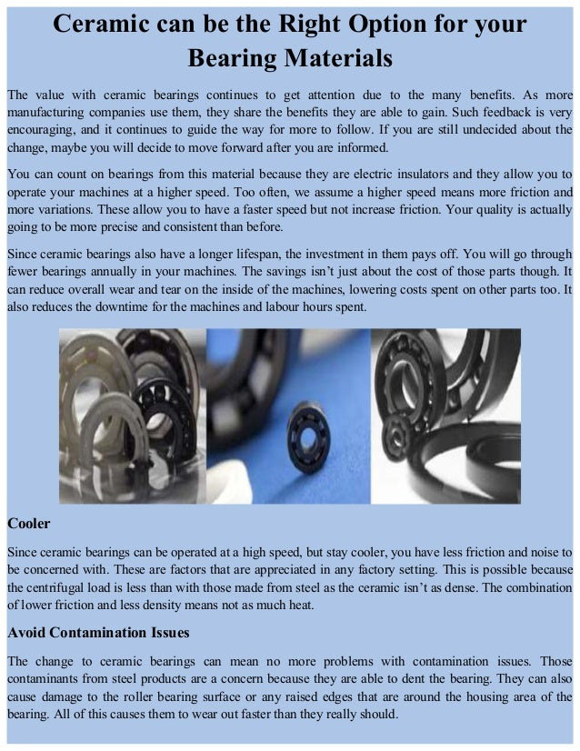 Ceramic can be the right option for your bearing materials