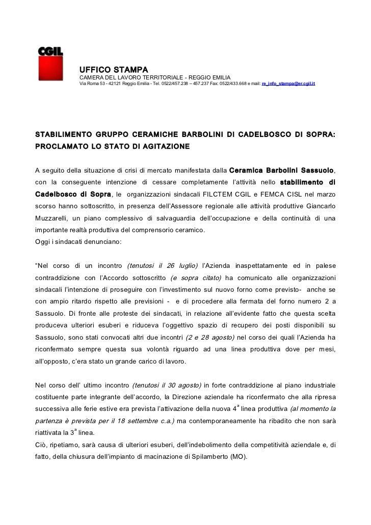 UFFICO STAMPA                  CAMERA DEL LAVORO TERRITORIALE - REGGIO EMILIA                  Via Roma 53 - 42121 Reggio ...