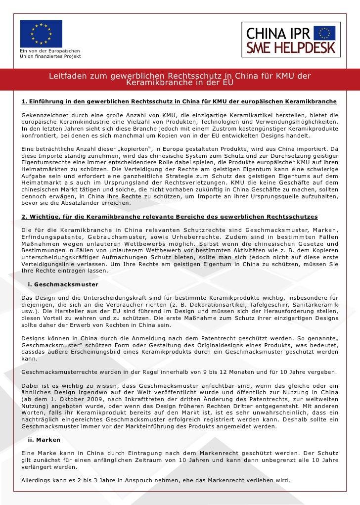 Leitfaden zum gewerblichen Rechtsschutz in China für KMUs der Keramikbranche in der EU