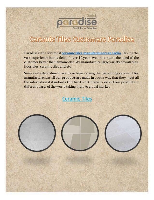 World Class Ceramic Tiles Manufacturers At Paradise