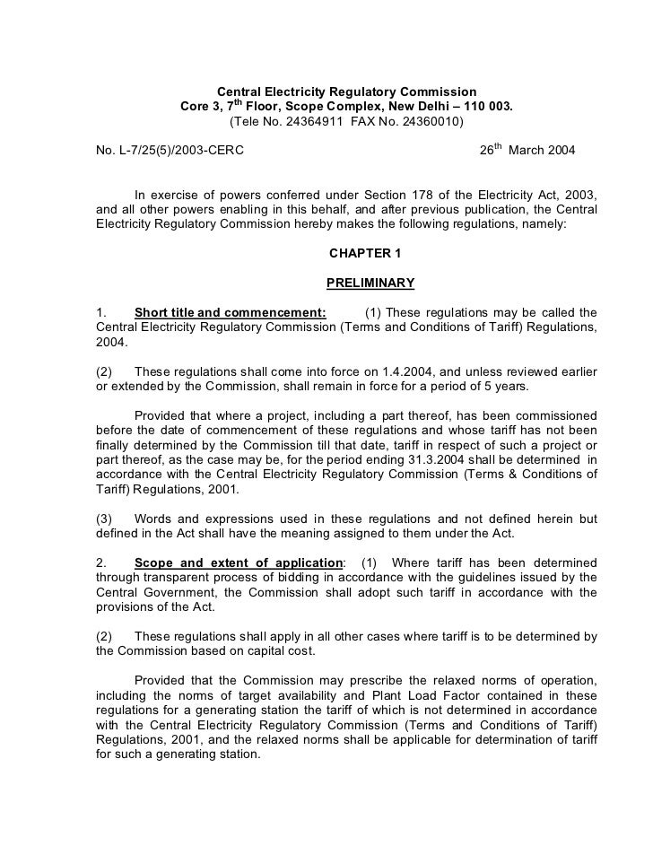 Central Electricity Regulatory Commission               Core 3, 7th Floor, Scope Complex, New Delhi – 110 003.            ...