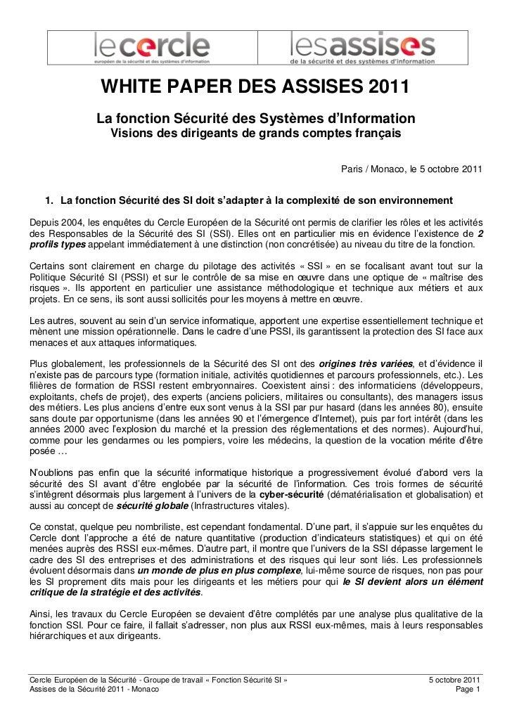 WHITE PAPER DES ASSISES 2011                   La fonction Sécurité des Systèmes d'Information                       Visio...