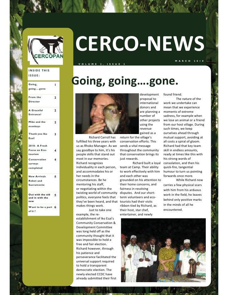 CERCO-NEWS                                                               M A R C H    2 0 1 0                          V O...