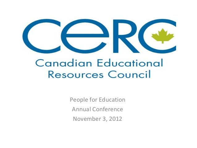 People for Education Annual Conference November 3, 2012