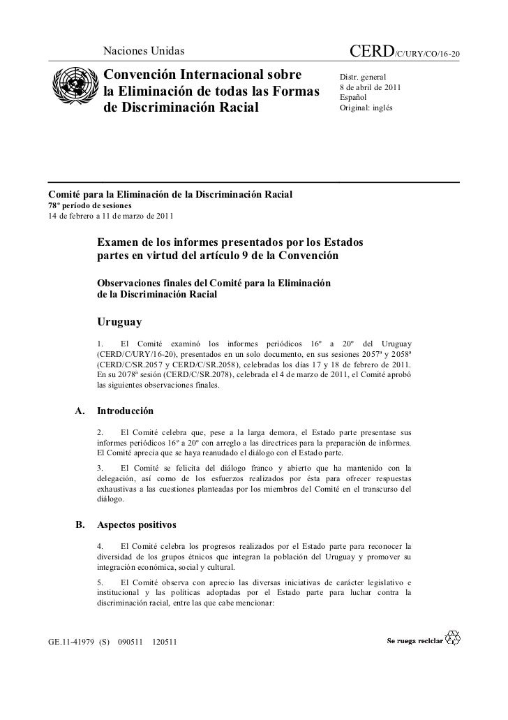 Naciones Unidas                                                        CERD/C/URY/CO/16-20               Convención Intern...