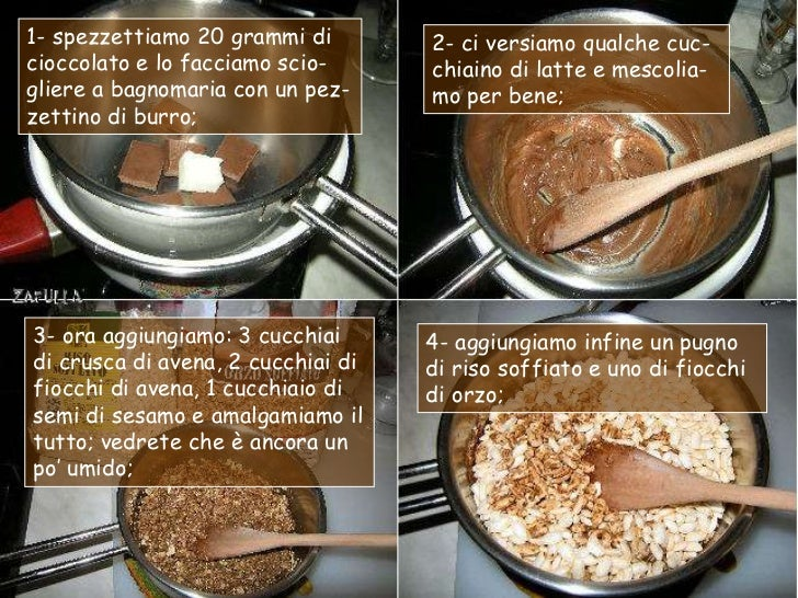 1- spezzettiamo 20 grammi di        2- ci versiamo qualche cuc-cioccolato e lo facciamo scio-      chiaino di latte e mesc...
