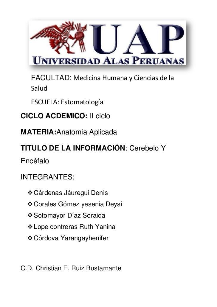 FACULTAD: Medicina Humana y Ciencias de la   Salud   ESCUELA: EstomatologíaCICLO ACDEMICO: II cicloMATERIA:Anatomia Aplica...
