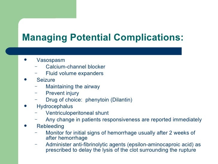 Managing Potential Complications: <ul><li>Vasospasm </li></ul><ul><ul><li>Calcium-channel blocker </li></ul></ul><ul><ul><...