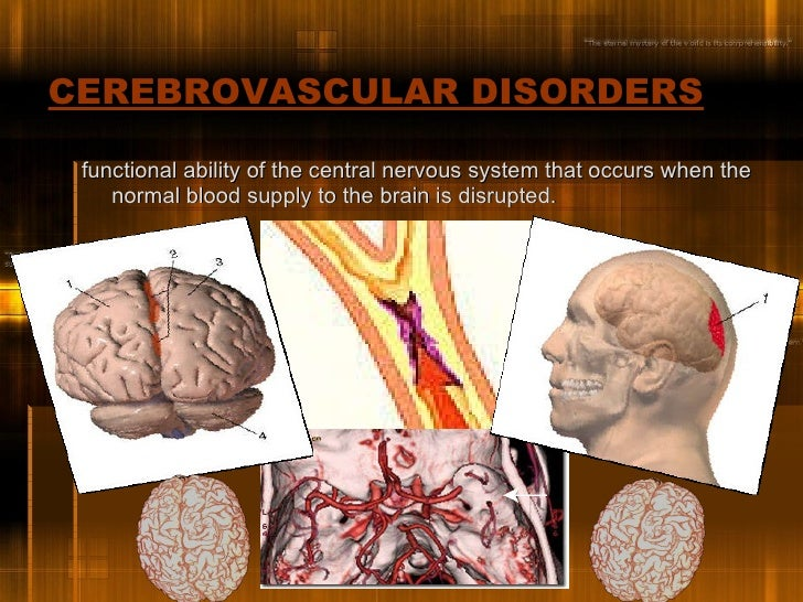CEREBROVASCULAR DISORDERS   <ul><li>functional ability of the central nervous system that occurs when the normal blood sup...
