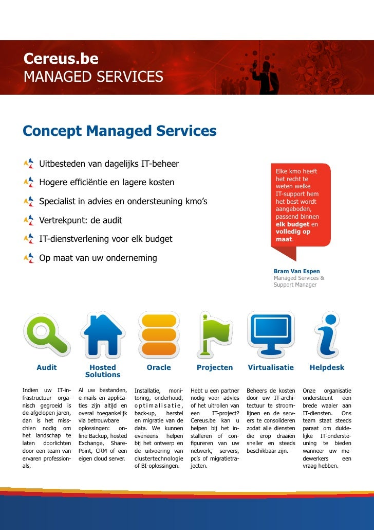 Cereus.beMANAGED SERVICESConcept Managed Services      Uitbesteden van dagelijks IT-beheer                                ...