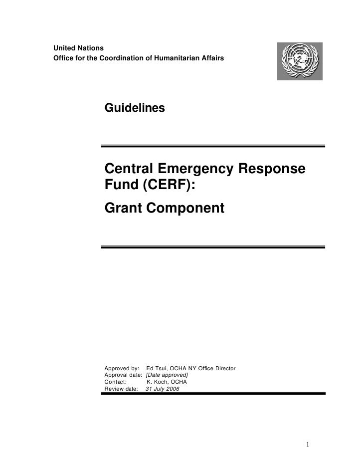 United Nations Office for the Coordination of Humanitarian Affairs                    Guidelines                    Centra...