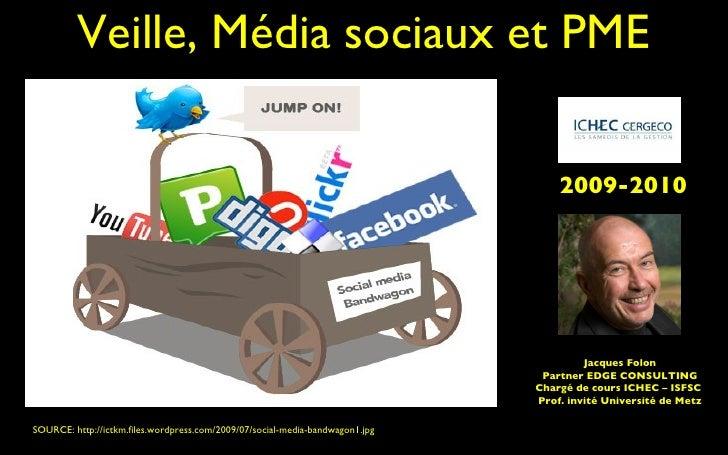 Veille, Média sociaux et PME SOURCE: http://ictkm.files.wordpress.com/2009/07/social-media-bandwagon1.jpg  Jacques Folon P...