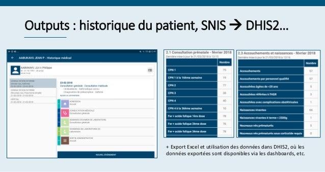 Outputs : historique du patient, SNIS  DHIS2… Serge ********* + Export Excel et utilisation des données dans DHIS2, où le...