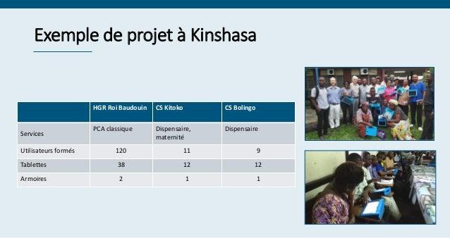 Exemple de projet à Kinshasa HGR Roi Baudouin CS Kitoko CS Bolingo Services PCA classique Dispensaire, maternité Dispensai...