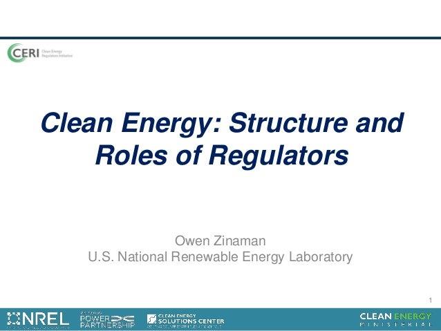 Clean Energy: Structure and Roles of Regulators Owen Zinaman U.S. National Renewable Energy Laboratory 1