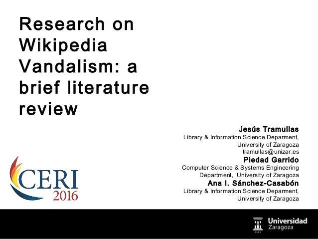 Research on Wikipedia Vandalism: a brief literature review
