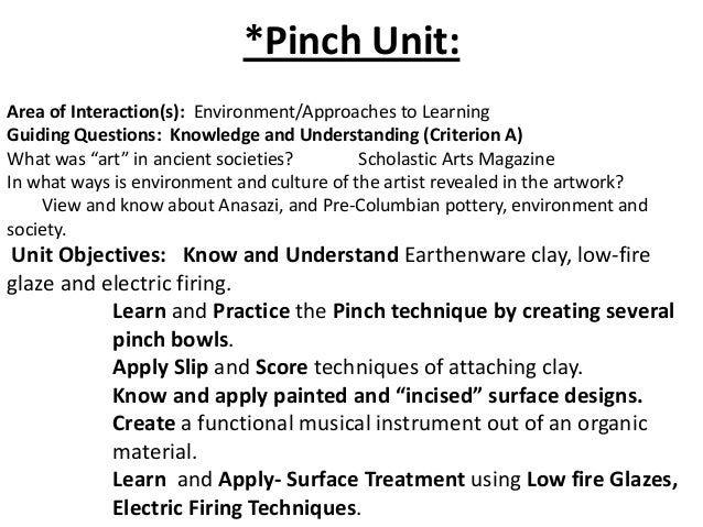 *Pinch Unit: Area of Interaction(s): Environment/Approaches to Learning Guiding Questions: Knowledge and Understanding (Cr...