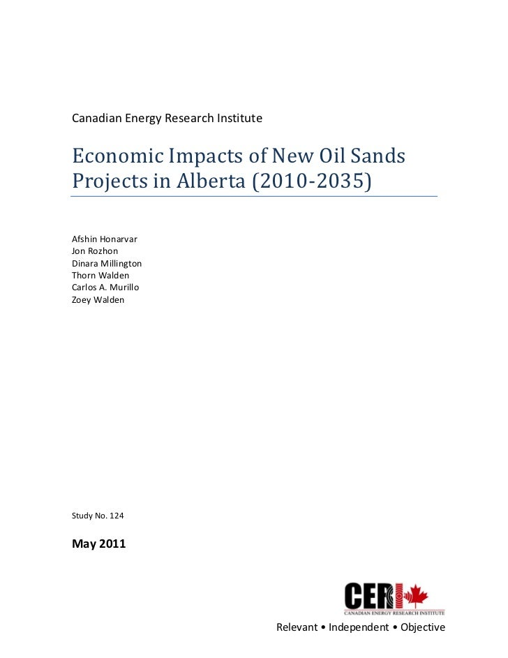 Canadian Energy Research Institute  Economic Impacts of New Oil Sands Projects in Alberta (2010-...